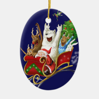 Christmas sledge funny digital drawing Santa Claus Ceramic Oval Decoration