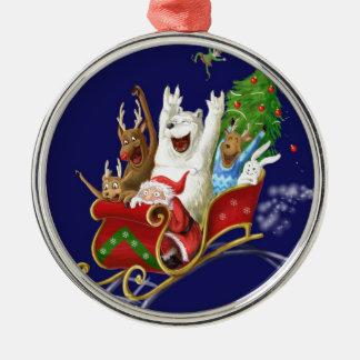 Christmas sledge funny digital drawing Santa Claus Christmas Tree Ornament