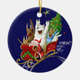 Christmas sledge funny digital drawing Santa Claus Round Ceramic Decoration