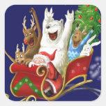 Christmas sledge funny digital drawing Santa Claus Sticker