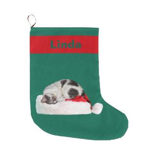 Christmas, Sleeping Cat, Santa Hat, Name