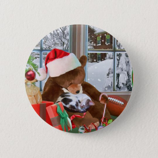 Christmas, Sleeping Cat, Teddy Bear 6 Cm Round Badge