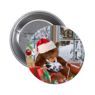 Christmas, Sleeping Cat, Teddy Bear 6 Cm Round Badge
