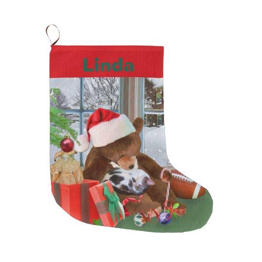 Christmas, Sleeping Cat, Teddy Bear, Name Large Christmas
