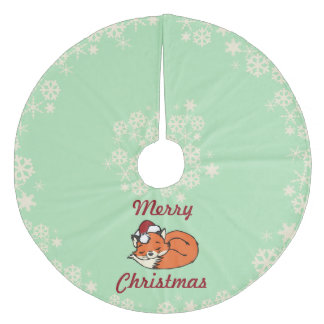 Christmas Sleeping Fox Fleece Tree Skirt