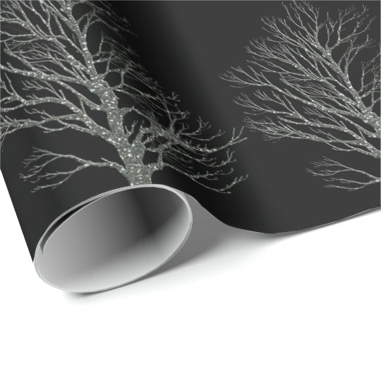 Christmas sliver glitter tree black wrapping paper