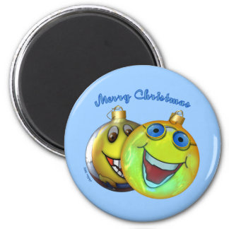 Christmas Smilies 6 Cm Round Magnet
