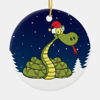 christmas snake in santa hat christmas ornament