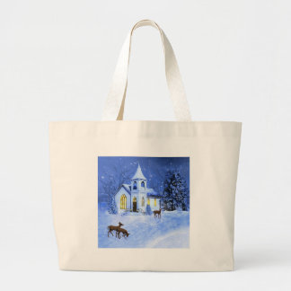 Christmas Snow and Church Tote Bags