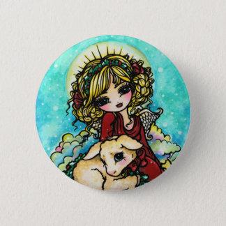 Christmas Snow Angel Lamb Snow Fantasy Art 6 Cm Round Badge