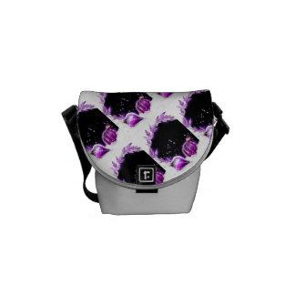 Christmas snow baubels purple black commuter bag