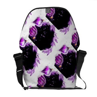 Christmas snow baubels purple black commuter bags