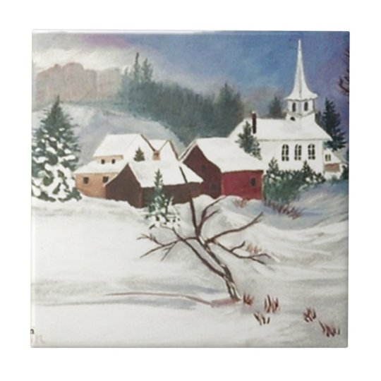 Christmas Snow by the Chapel Small Square Tile
