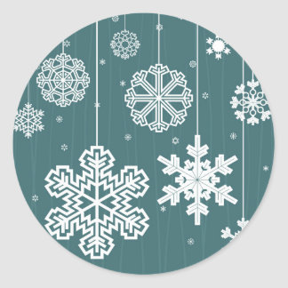 Christmas snow classic round sticker