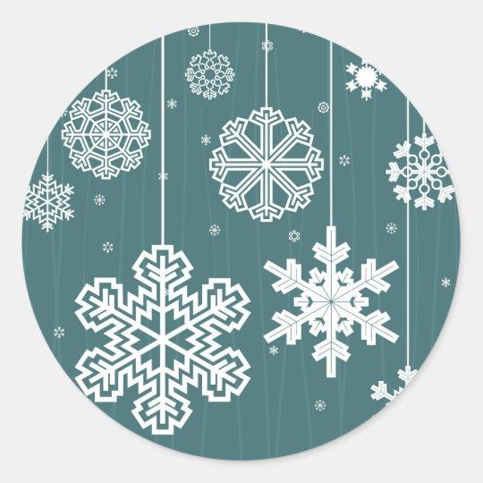 Christmas snow classic round sticker
