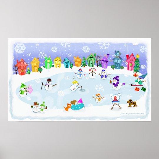 Christmas Snow Day Art Poster Print