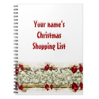 Christmas snow decorations shopping notebooks