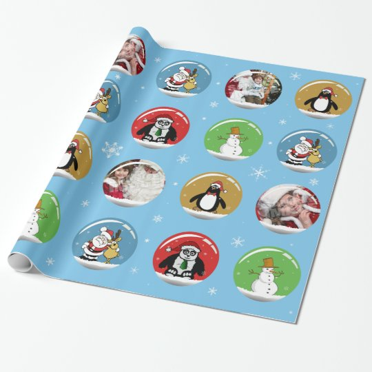 Christmas Snow Globe Custom Photo Template Wrapping Paper