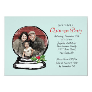 "Christmas Snow Globe Photo Party Invitation 5"" X 7"" Invitation Card"