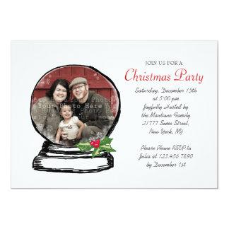"Christmas Snow Globe Photo Party Invite 5"" X 7"" Invitation Card"