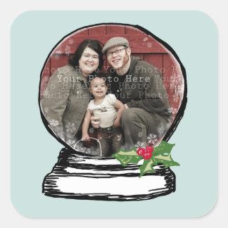 Christmas Snow Globe Photo Square Sticker