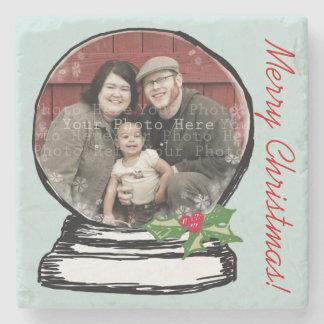 Christmas Snow Globe Photo Stone Coaster