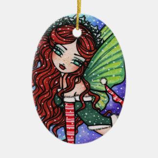 Christmas Snow Irish Fae Fairy Art by Hannah Lynn Christmas Ornament
