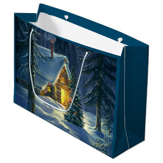 Christmas Snow Landscape Large Gift Bag