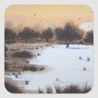 Christmas snow landscape with snow covered trees sticker