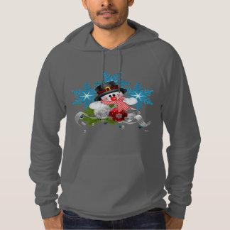 Christmas Snow Man Fleece Pullover Hoodie