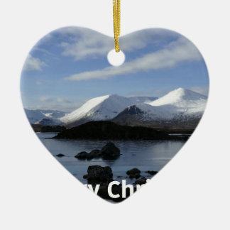 Christmas snow on Black Mount , Scotland Christmas Ornament