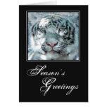 Christmas Snow White Tiger Greeting Card
