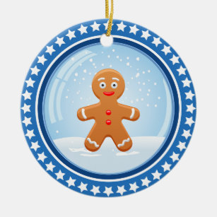Christmas Snowball with Cute Gingerbread Man Christmas Ornament
