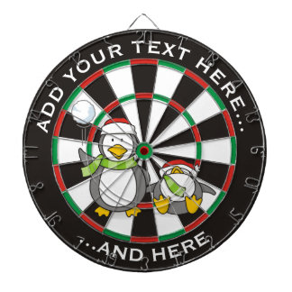 Christmas Snowballing penguins Dartboard