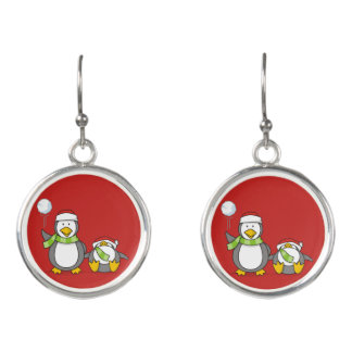 Christmas Snowballing penguins Earrings