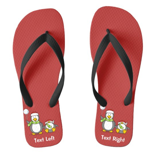 Christmas Snowballing penguins Flip Flops