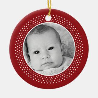 Christmas Snowflake: Double-Sided Photo Round Ceramic Decoration