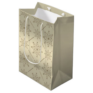 Christmas Snowflake Gold Glitter Pattern Medium Gift Bag