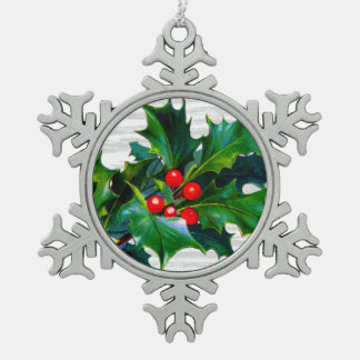 Christmas Snowflake Holly Berry Holiday Keepsake Snowflake Pewter Christmas Ornament