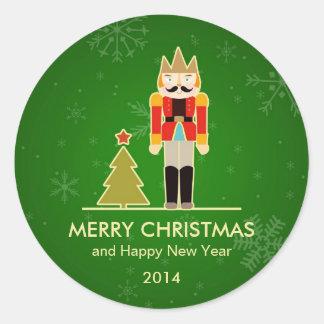 Christmas Snowflake - Nutcracker Holiday Greeting Round Sticker