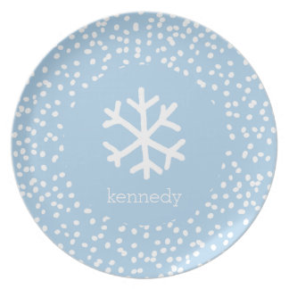 Christmas Snowflake Personalize Light Blue Holiday Party Plates