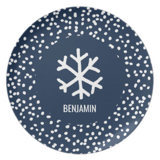Christmas Snowflake Personalized Navy Blue Holiday Plate