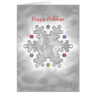 Christmas Snowflake Silver (photo frame) Greeting Card