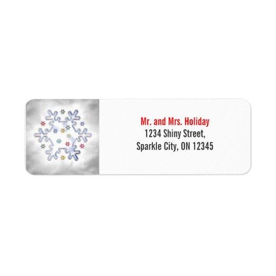 Christmas Snowflake Silver Return Address Label