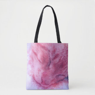 Christmas Snowflake Sleepy Cat Tote Bag