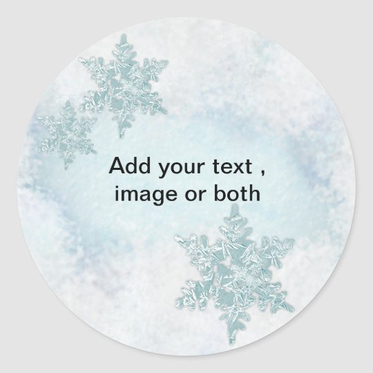 Christmas Snowflake snow photo frame template Classic Round