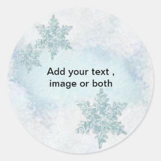 Christmas Snowflake snow photo frame template Round Sticker