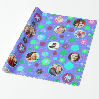 Christmas Snowflakes 14 Family Pictures Purple Wrapping Paper