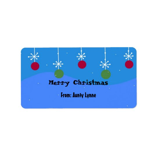 Christmas Snowflakes And Balls Label