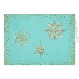 Christmas Snowflakes Aqua & Gold Card